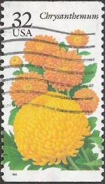 32-cent U.S. postage stamp picturing chrysanthemum