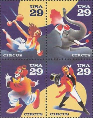 Block of four 29-cent U.S. postage stamps picturing circus performers and elephant