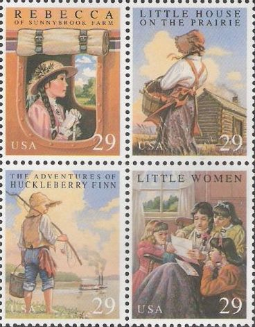 Block of four 29-cent U.S. postage stamps picturing scenes from Rebecca of Sunnybrook Farm, Little House on the Prairie, The Adventures of Huckleberry Finn, and Little Women