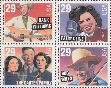 Block of four 29-cent U.S. postage stamps picturing Hank Williams, Patsy Cline, the Carter Family, and Bob Wills