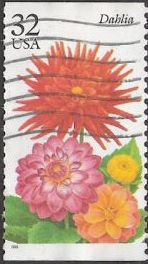 32-cent U.S. postage stamp picturing dahlia