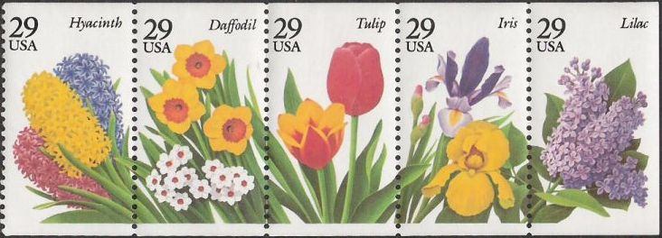 Booklet pane of five 29-cent U.S. postage stamps picturing hyacinth, daffodil, tulip, iris, and lilac