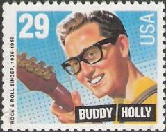 29-cent U.S. postage stamp picturing Buddy Holly