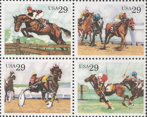Block of four 29-cent U.S. postage stamps picturing steeplechase scenes