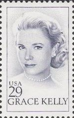 Blue 29-cent U.S. postage stamp picturing Grace Kelly