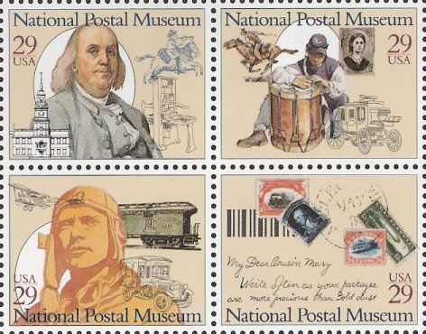 Block of four 29-cent U.S. postage stamps picturing stamps and men