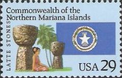 29-cent U.S. postage stamp picturing island scene and flag of the Commonwealth of the Northern Mariana Islands