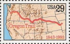 29-cent U.S. postage stamp picturing map showing route of Oregon Trail