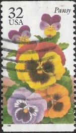 32-cent U.S. postage stamp picturing pansy