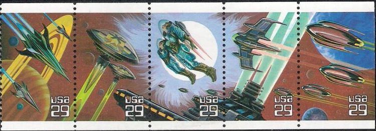 Booklet pane of five 29-cent U.S. postage stamps picturing science fiction scenes