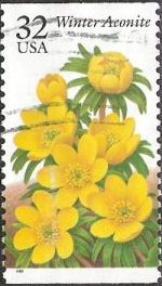 32-cent U.S. postage stamp picturing winter aconite