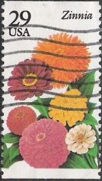 29-cent U.S. postage stamp picturing zinnia
