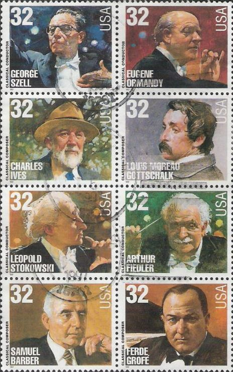 Block of eight 32-cent U.S. postage stamps picturing George Szell, Eugene Ormandy, Charles Ives, Louis Moreau Gottschalk, Leopold Stokowski, Arthur Fiedler, Samuel Barber, and Ferde Grofe