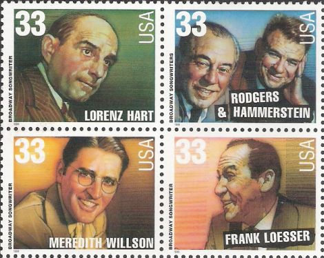 Block of four 33-cent U.S. postage stamps picturing Lorenz Hart, Richard Rodgers and Oscar Hammerstein II, Meredith Willson, and Frank Loesser