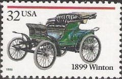 32-cent U.S. postage stamp picturing 1899 Winton
