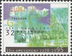 32-cent U.S. postage stamp picturing scenes from women's suffrage movement