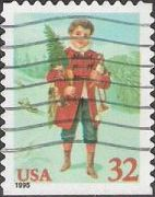 32-cent U.S. postage stamp picturing child with tree