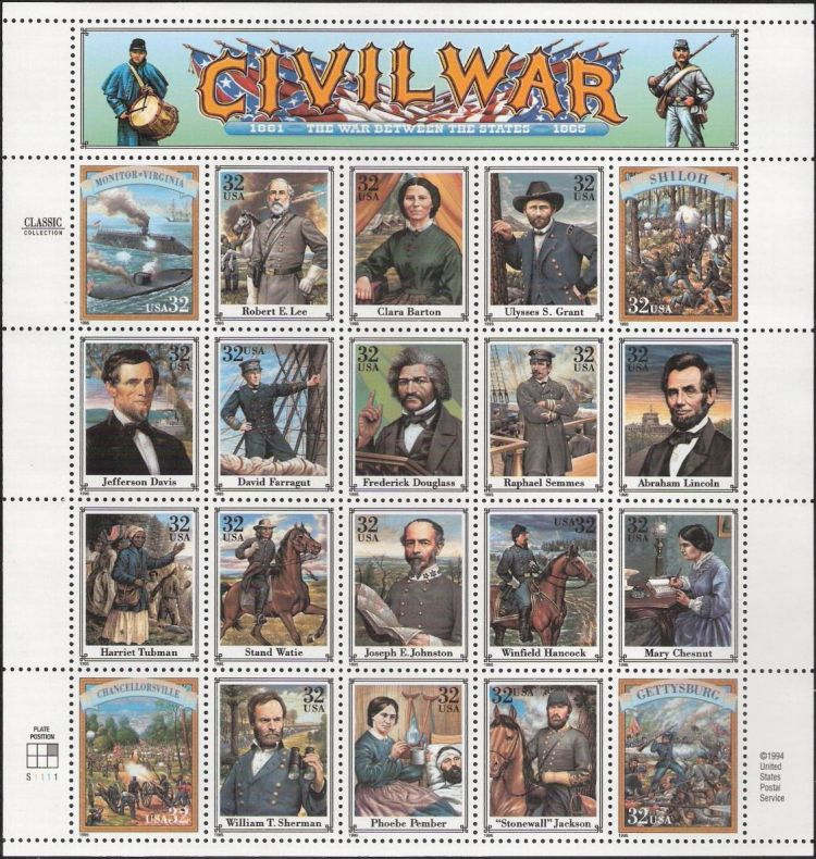 Sheet of 20 32-cent U.S. postage stamps picturing Civil War figures and events