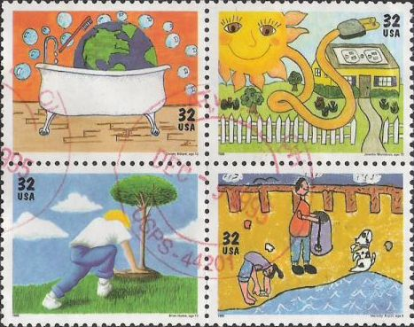 Block of four 32-cent U.S. postage stamps picturing colored environment-related drawings