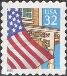 32-cent U.S. postage stamp picturing American flag and porch
