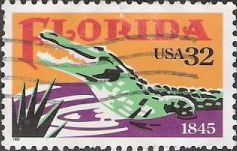 32-cent U.S. postage stamp picturing alligator