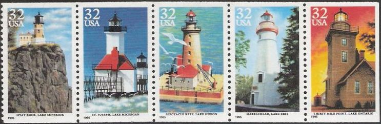 Booklet pane of five 32-cent U.S. postage stamps picturing lighthouses