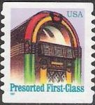 Non-denominated 25-cent U.S. postage stamp picturing juke box