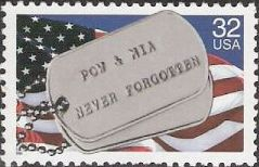 32-cent U.S. postage stamp picturing military dogtags
