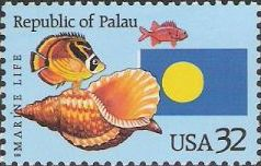 32-cent U.S. postage stamp picturing fish, shell, and Republic of Palau flag