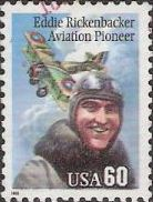 60-cent U.S. postage stamp picturing Eddie Rickenbacker and airplane