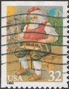 32-cent U.S. postage stamp picturing Santa Claus and sled