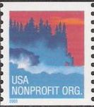 Non-denominated 5-cent U.S. postage stamp picturing trees on coast