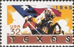 32-cent U.S. postage stamp picturing Texas flag and man on horse