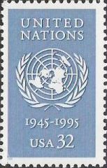 Blue 32-cent U.S. postage stamp picturing United Nations emblem