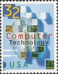 32-cent U.S. postage stamp picturing computer circuits