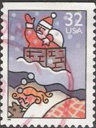 32-cent U.S. postage stamp picturing girl dreaming of Santa Claus