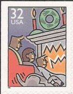 32-cent U.S. postage stamp picturing family in front of fireplace