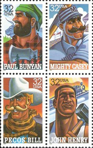 Block of four 32-cent U.S. postage stamps picturing Paul Bunyan, Mighty Casey, Pecos Bill, and John Henry