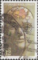 32-cent U.S. postage stamp picturing head partially composed of science-related objects