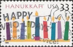 33-cent U.S. postage stamp picturing candles
