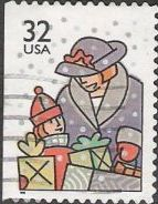 32-cent U.S. postage stamp picturing woman and girl with gifts