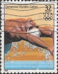 32-cent U.S. postage stamp picturing Olympic swimmer