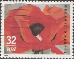 32-cent U.S. postage stamp picturing Georgia O'Keeffe painting