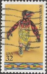 32-cent U.S. postage stamp picturing Native American performing raven dance