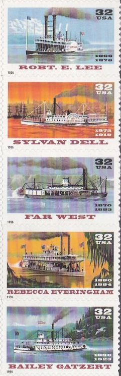 Strip of five 32-cent U.S. postage stamps picturing riverboats