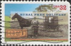 32-cent U.S. postage stamp picturing mail carrier with horse and wagon