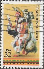 32-cent U.S. postage stamp picturing Native American performing traditional dance