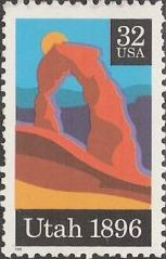 32-cent U.S. postage stamp picturing Delicate Arch