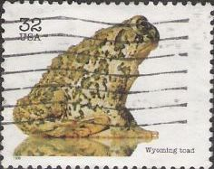 32-cent U.S. postage stamp picturing Wyoming toad