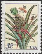 32-cent U.S. postage stamp picturing flowering pineapple